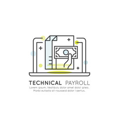 Vector Icon Style Illustration of Technical Payroll Concept with Hand Holding Money Banknote on Laptop Screen, Isolated Web Element