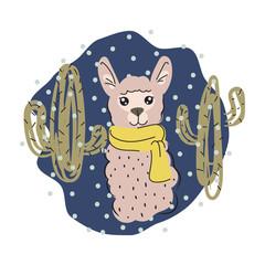 Cute lama isolated cartoon vector illustration.