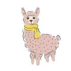 Cute alpaca isolated cartoon vector illustration.