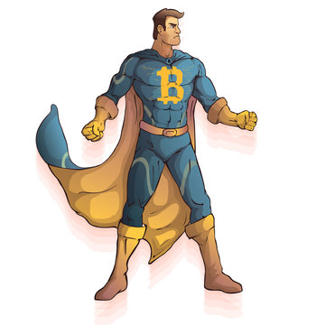 Man in superhero costume with Bitcoin design