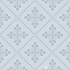 Scandinavian floral background, mid century wallpaper, seamless abstract pattern,  Blue, silver grey and white colors .  - 196237041