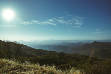 Mountains against a blue sky in Topanga