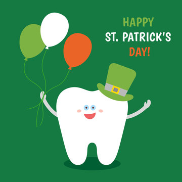Smiling cartoon tooth in Saint Patrick's green hat with balloons colors of the Irish flag. Happy St. Patrick's Day! Greeting card from dentistry. Dental illustration on green background.