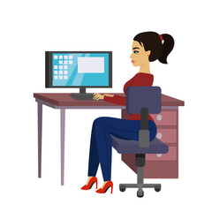 Vector illustration beautiful business woman at the desk is working on the laptop computer in flat style.