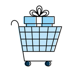 shopping cart with giftbox