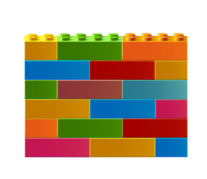 Colorful wall of Lego. 3D Lego. Constructor. Building blocks toys. Colorful building blocks toys. Isolated on white background. Vector illustration Eps10 file