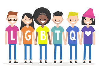 LGBTQ sign. A group of people wearing colourful t-shirts and holding each other's hands. Rainbow. Homosexual community. Flat editable vector illustration, clip art