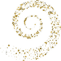 Stream gold stars on a white background. Vector illustration