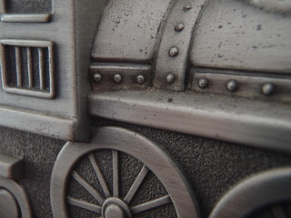 Close up of the side of a toy train