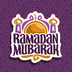 Vector logo for muslim calligraphy Ramadan Mubarak, cut paper sign with original brush typeface for word ramadan mubarak, label with gold dome and minarets of mubarak mosque on purple moroccan pattern