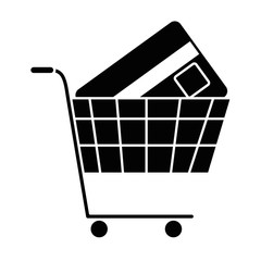 shopping cart with credit card vector illustration design