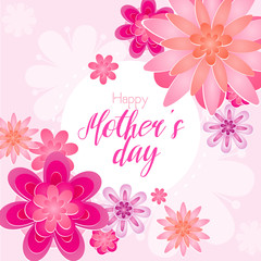 Vector illustration of beautiful Mother s day greeting card with blossom flowers in light pink color.