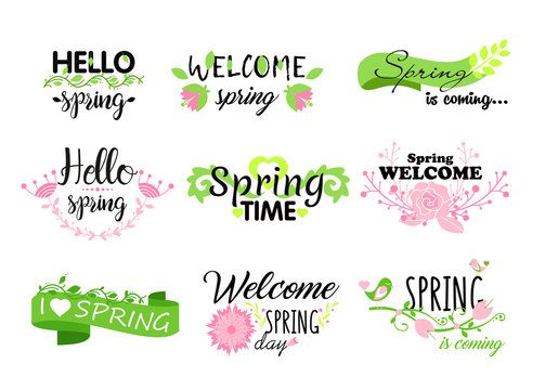 Vector illustration set of Hello spring lettering typography. Calligraphy postcards elements, flowers, leafs, spring concepts.