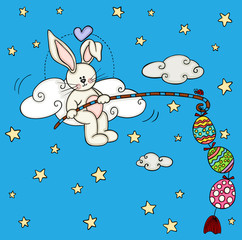 Cute bunny fishing a easter eggs