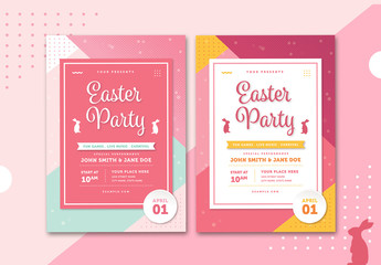 Easter Party Flyer Layout with Pink Accents