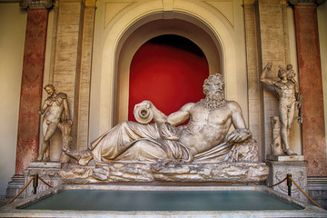 Sculpture of River God Tiber in Vatican, Italy