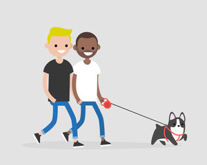 Gay couple walking a dog. Daily life of pet owners. Flat editable vector illustration, clip art