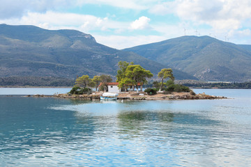 Summer time view on Eros island or Daskalio near Poros, Greece.