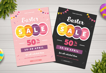 Easter Sale Flyer Layout with Colorful Egg Elements