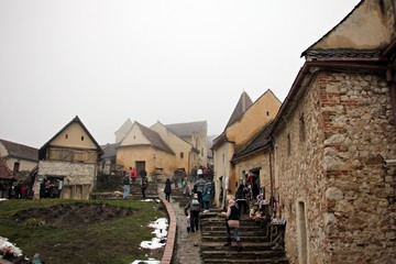 Tourism at the medieval Rasnov Stronghold, Romania