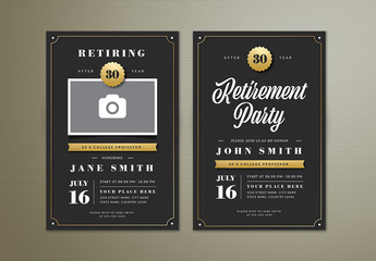 Retirement Party Invitation Layout with Gold Accents