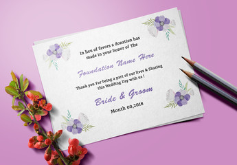 Wedding Donation Card Layout with Small Purple Flowers 1
