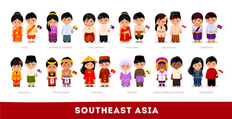 Asians in national clothes. Southeast Asia. Set of cartoon characters in traditional costume. Cute people. Vector flat illustrations.