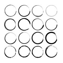 Set of 12 Hand Drawn Scribble Circles, vector logo design elements
