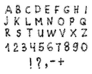 Vector Latin alphabet with numbers. The texture of sea sand