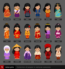 Asian girls in national dress. Set of asian woman dressed in national clothes. Collection of people in traditional costume. Vector flat illustration.