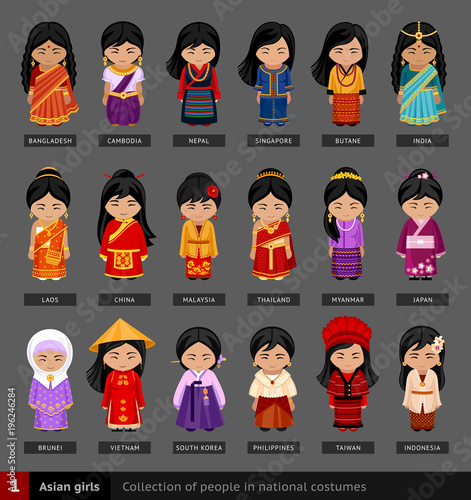 Quot Asian Girls In National Dress Set Of Asian Woman Dressed
