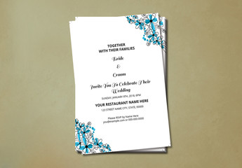 Wedding Invitation with Blue Floral Corners 1