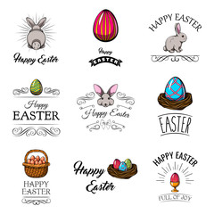 Easter set. Easter cartoon characters and design elements. Easter greeting card. Vector illustration.