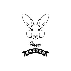 Easter rabbit, easter Bunny. Easter greeting card. Vector illustration.