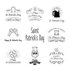 St. Patrick s Day Design Elements. Leprechaun, horseshoe, beer, clover. Vector.