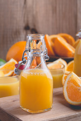 Freshly squeezed orange juice in bottles