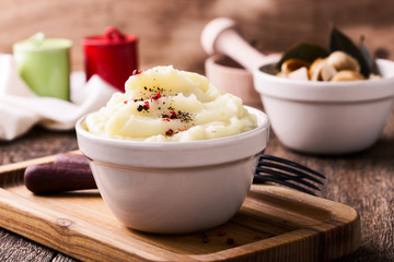 Mashed potatoes and homemade pickled mushrooms