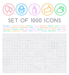 Set of 1000 Isolated Minimal Modern Simple Elegant Black Stroke Icons on Circular Buttons on White Background