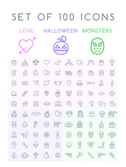 Set of 100 Isolated Minimal Modern Simple Elegant Black Stroke Icons on White Background ( Valentine's Day , Halloween and Scary Elements )