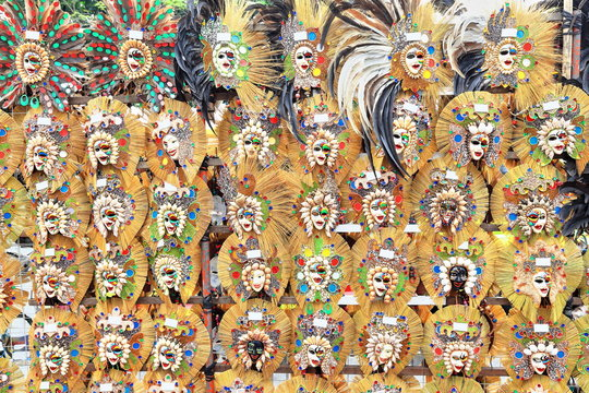 Masks for the MassKara festival. Street stall-San Sebastian Cathedral entry-Bacolod-Negros Occidental-Philippines.0285