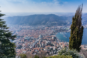 View of Lake Como from Brunate, top of the hill, Italy