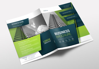 Brochure Cover Layout with Blue and Green Accents 15