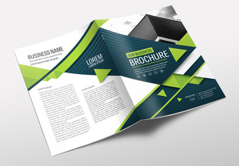 Brochure Cover Layout with Blue and Green Accents 16