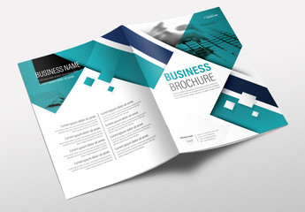 Brochure Cover Layout with Teal and Blue Accents 2