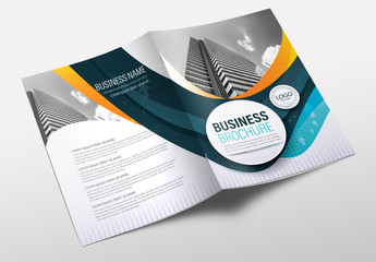 Brochure Cover Layout with Teal and Orange Accents 7