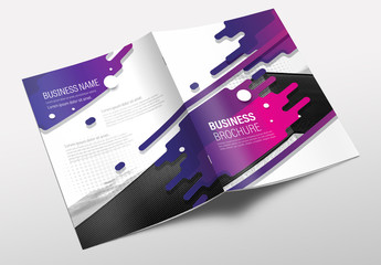 Brochure Cover Layout with Purple Splash Design 1