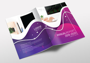 Brochure Cover Layout with Wavy Purple Design 1