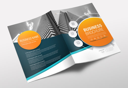 Brochure Cover Layout with Teal and Orange Accents 8