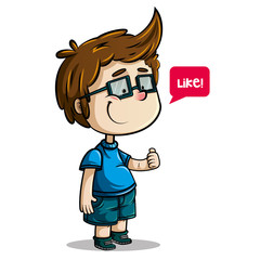 cheerful brown-haired boy with glasses, blue shirt and pants and green shoes with thumbs up saying like, on white background