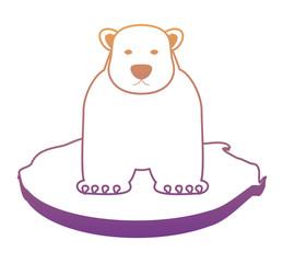 polar bear on black of ice icon over white background, vector illustration